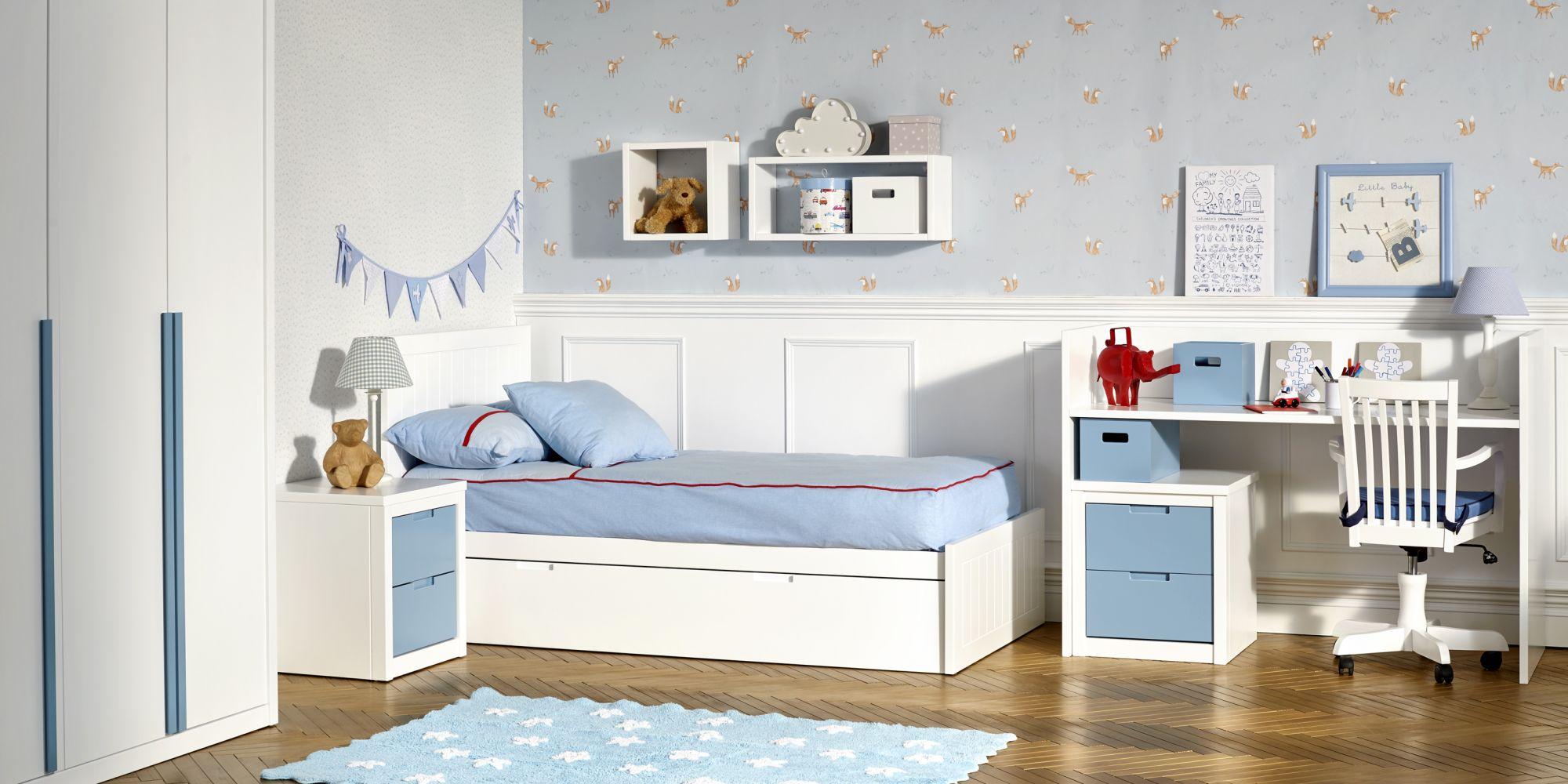 Convertible desmontado, que incluye zona de almacenaje, descanso y estudio en un mismo mueble   Mueble Infantil