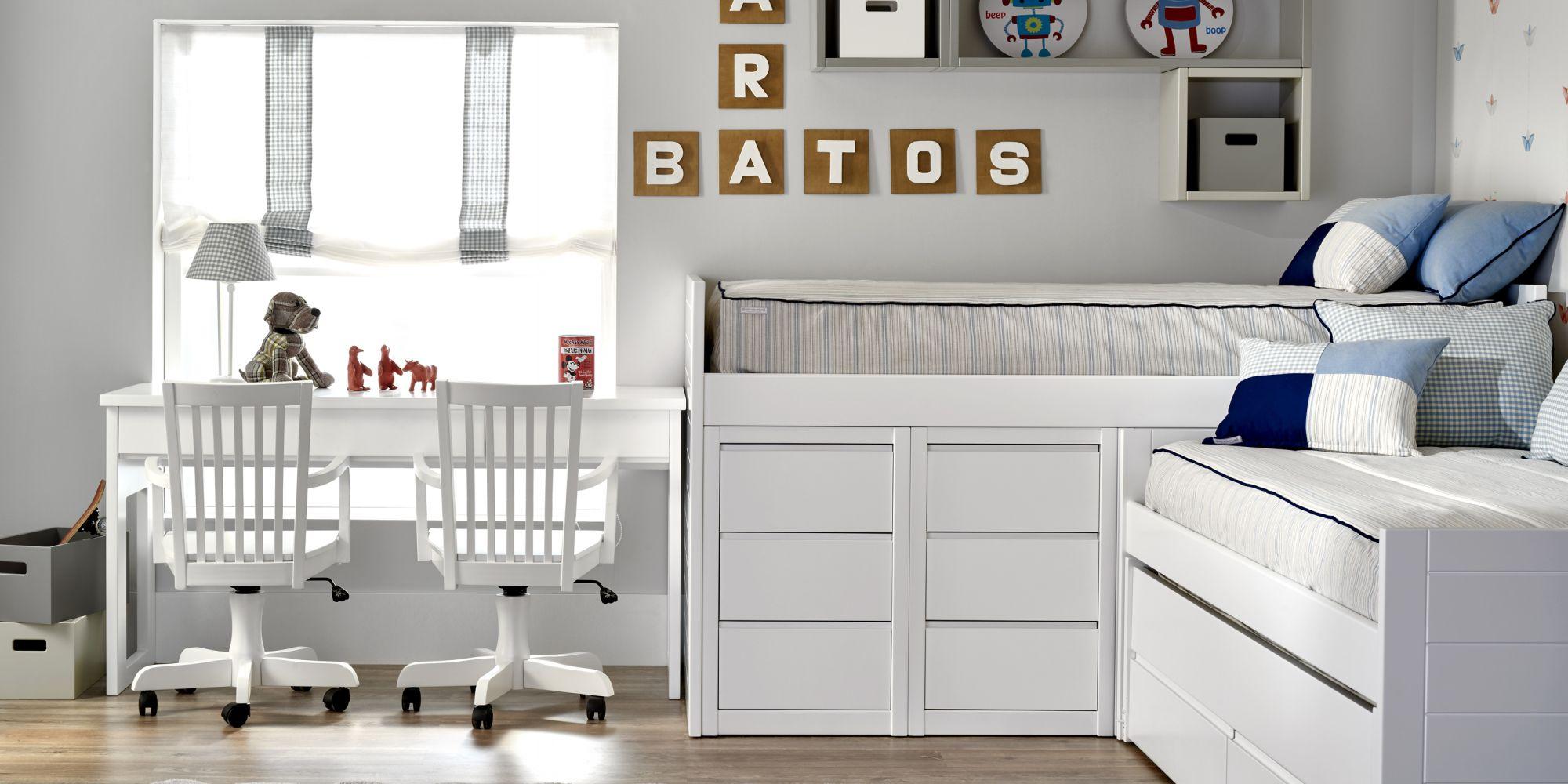 Bloque alto minicompacto con 3 camas y mesa escritorio | Mueble Infantil