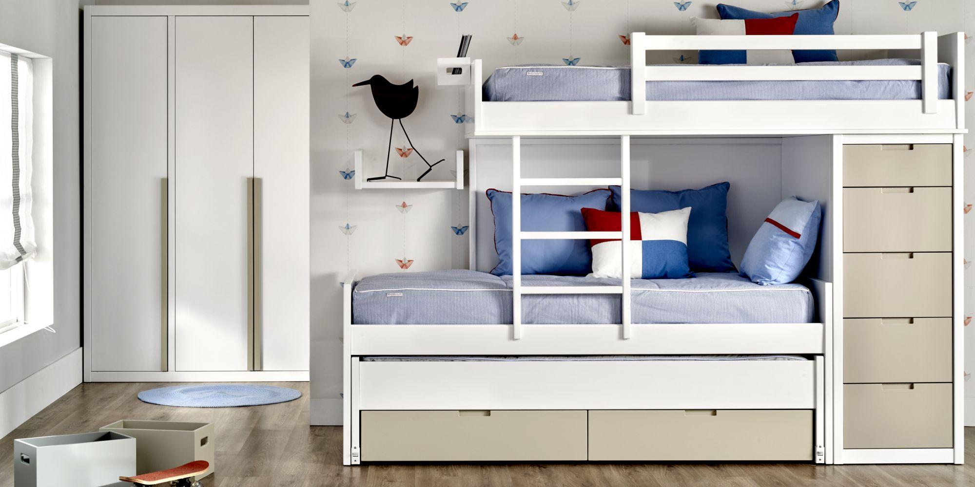 Tren con 2 camas, chiffonier y armario, ideal para habitación infantil | Mueble Infantil