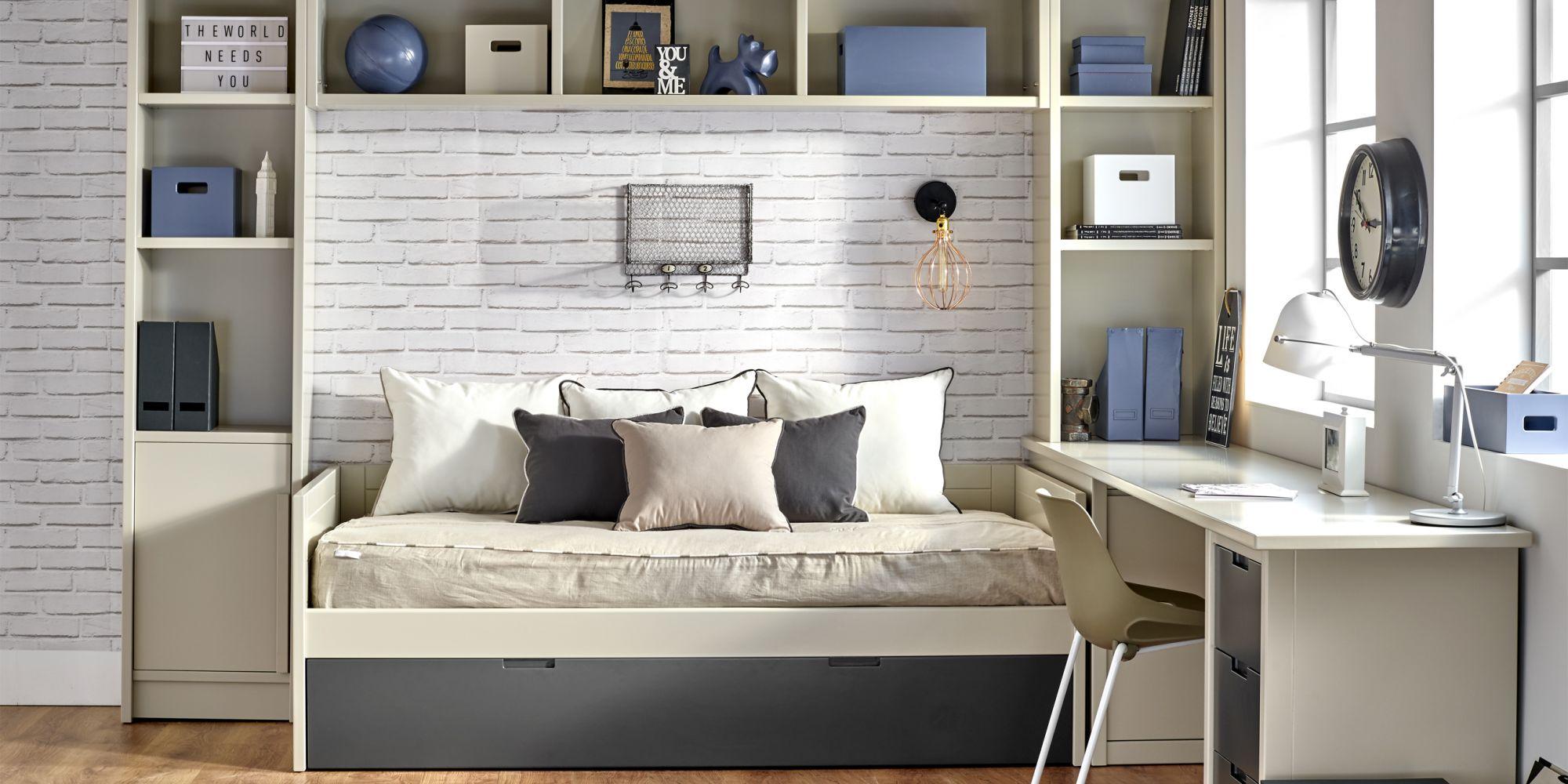 Nido con 2 camas y zona de almacenaje con 2 librerías y puente, estancia ideal para habitación juvenil | Mueble Juvenil