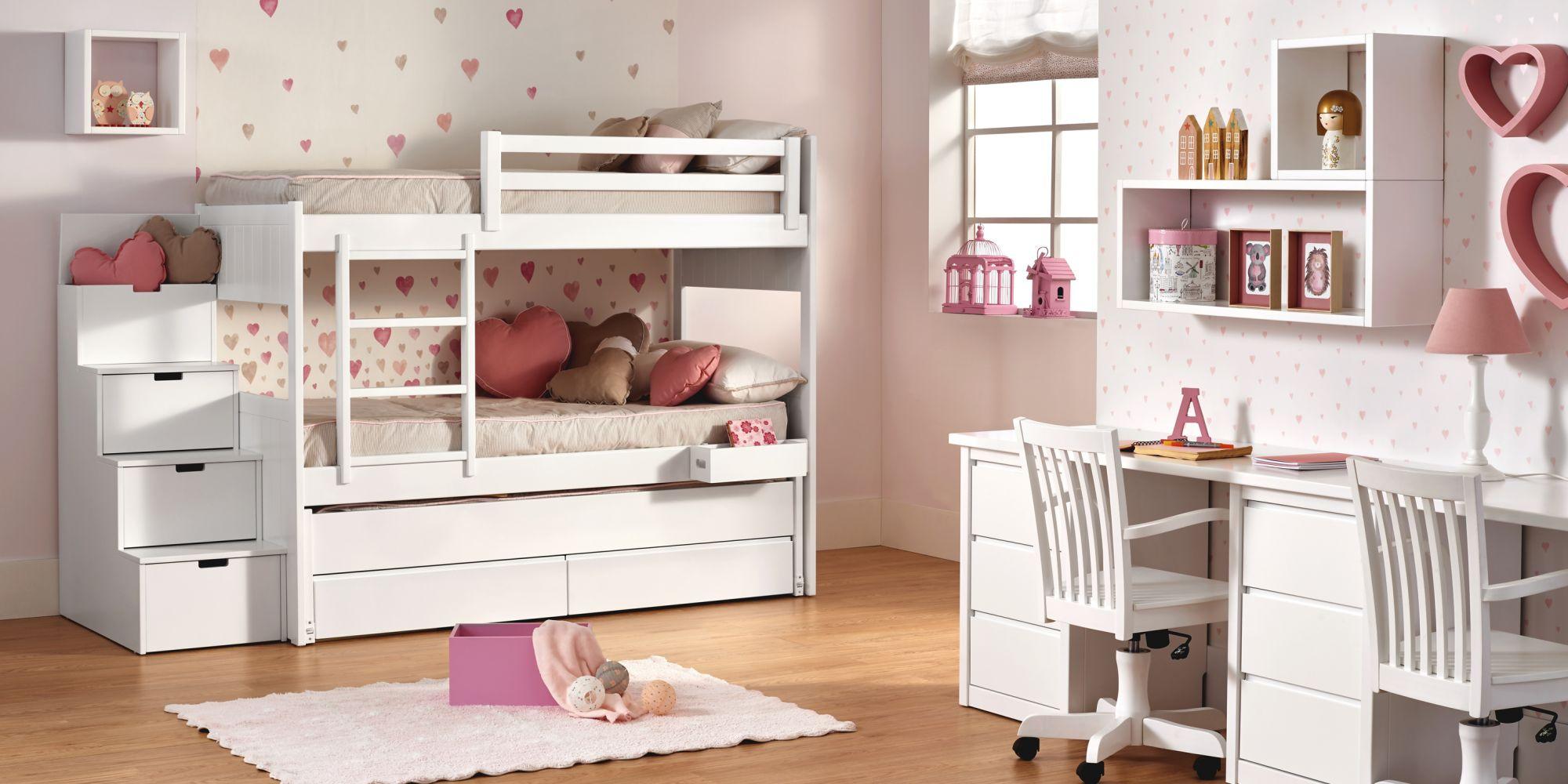 Litera con 3 camas, cajones y zona de estudio, ideal para habitación infantil | Mueble Infantil