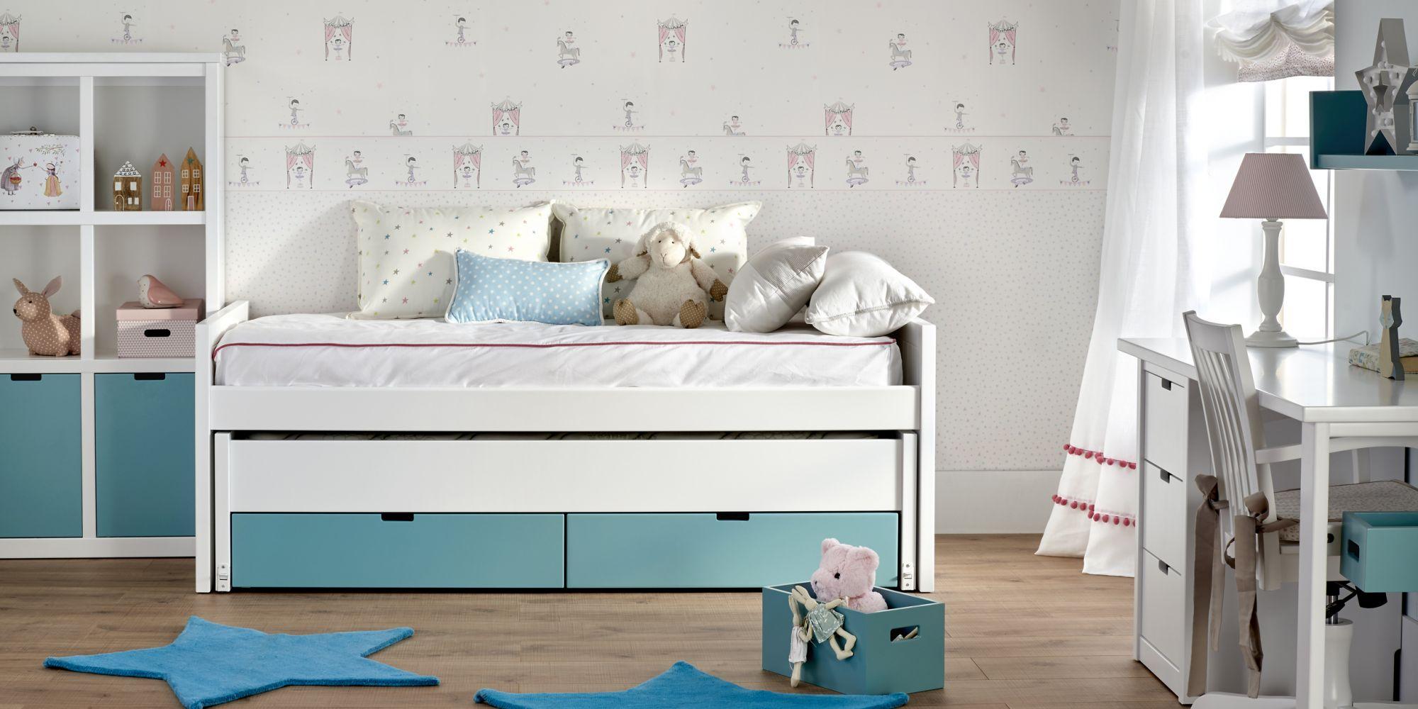Minicompacto con 2 camas, cajones inferiores y librero ideal para habitación infantil | Mueble Infantil