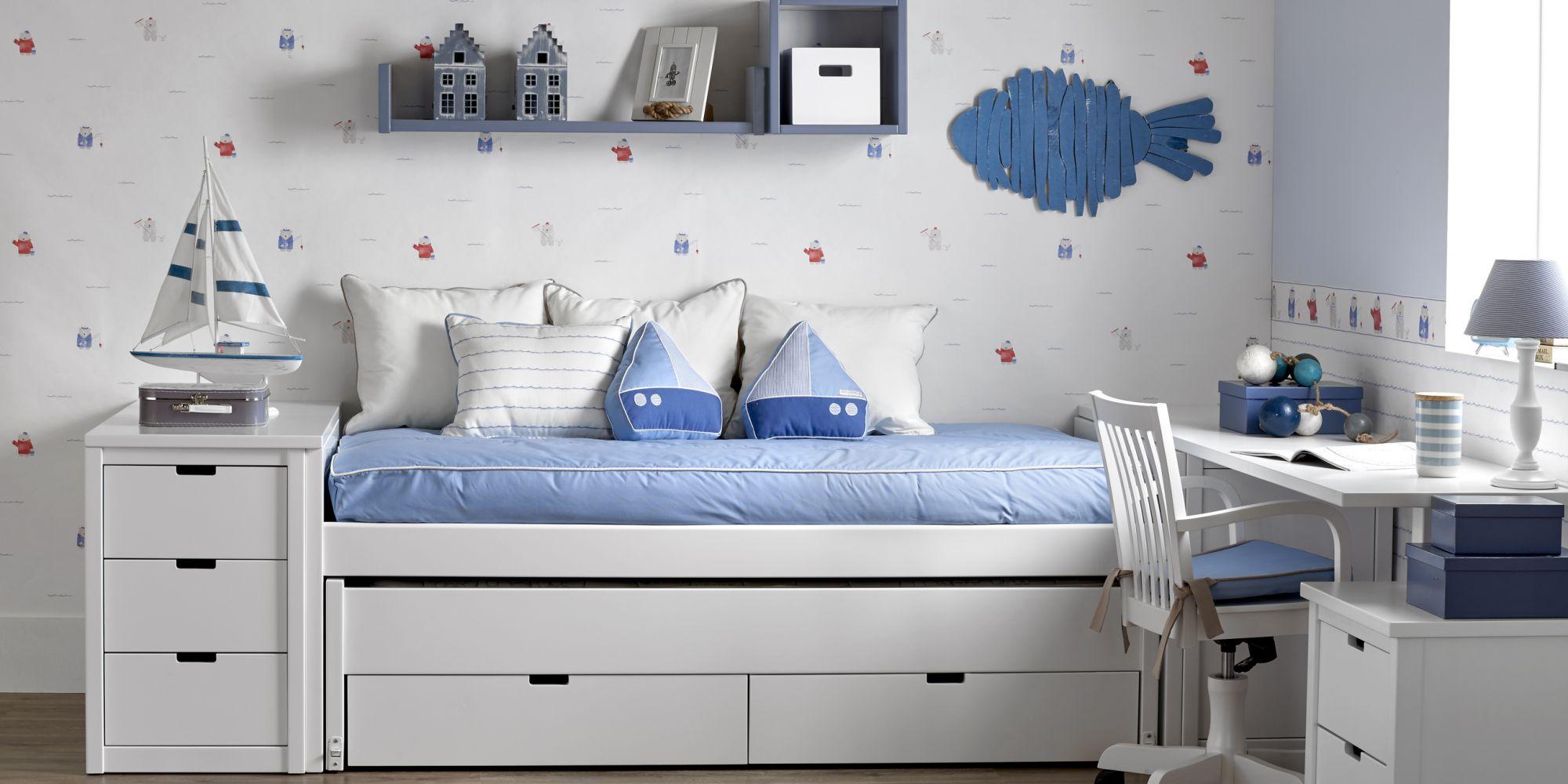 Minicompacto 2 camas con auxiliar de cajones para almacenaje ropa niño-niña | Mueble Infantil