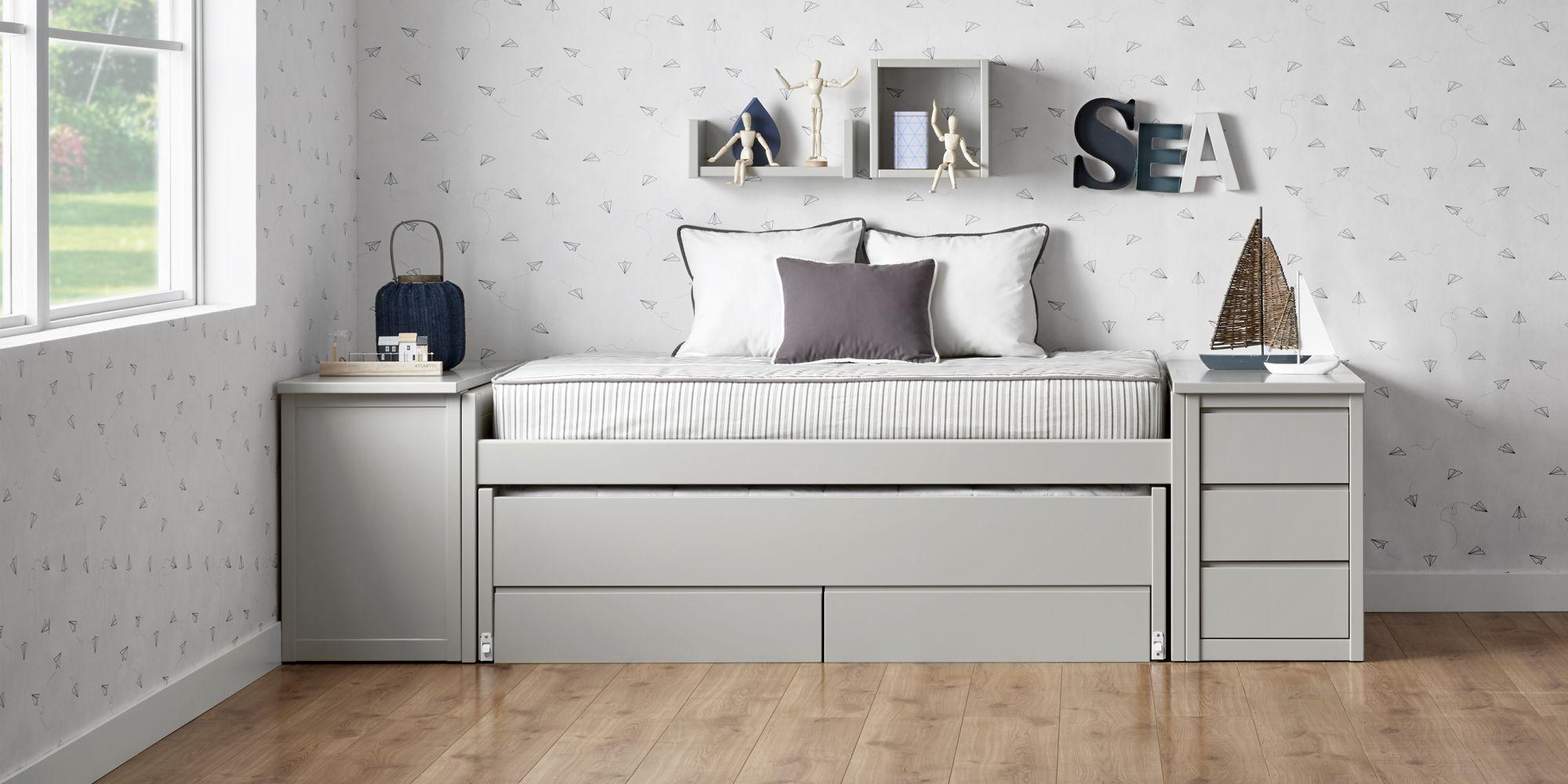 Cama compacta con escritorio extensible gris