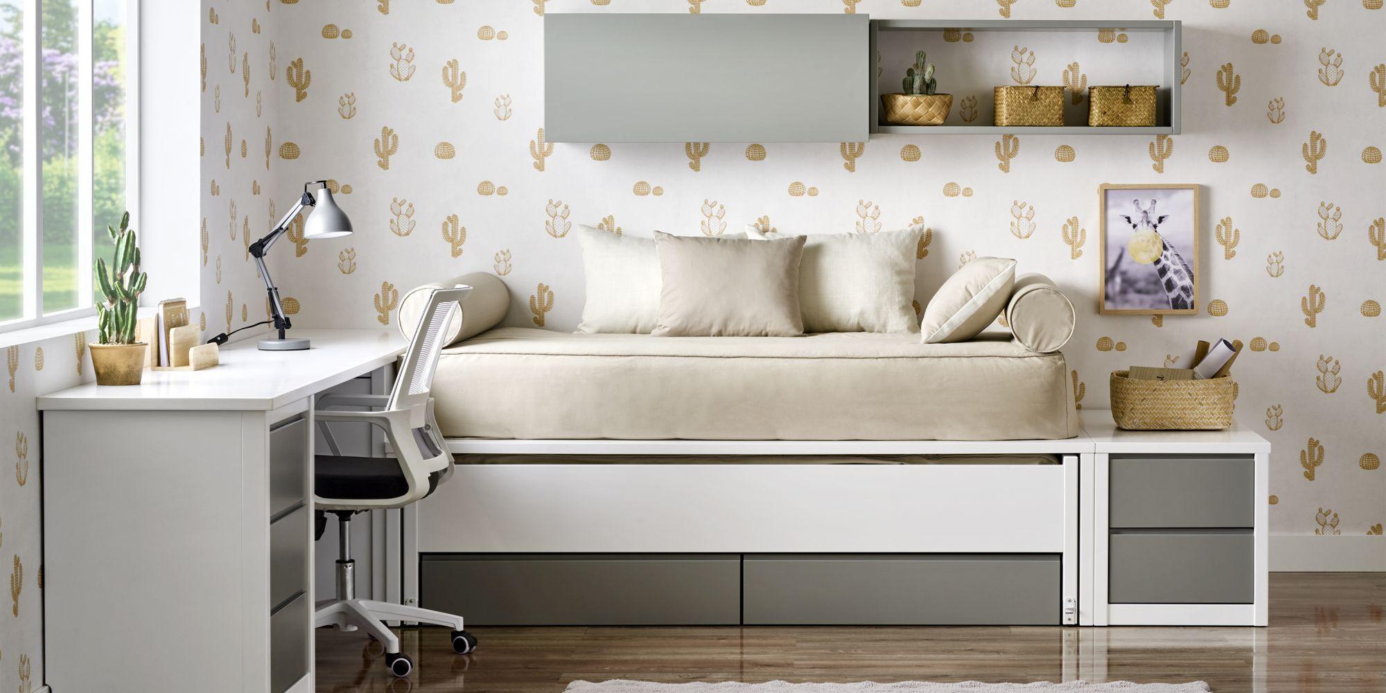 Cama compacta lacado blanco con mesa de estudio