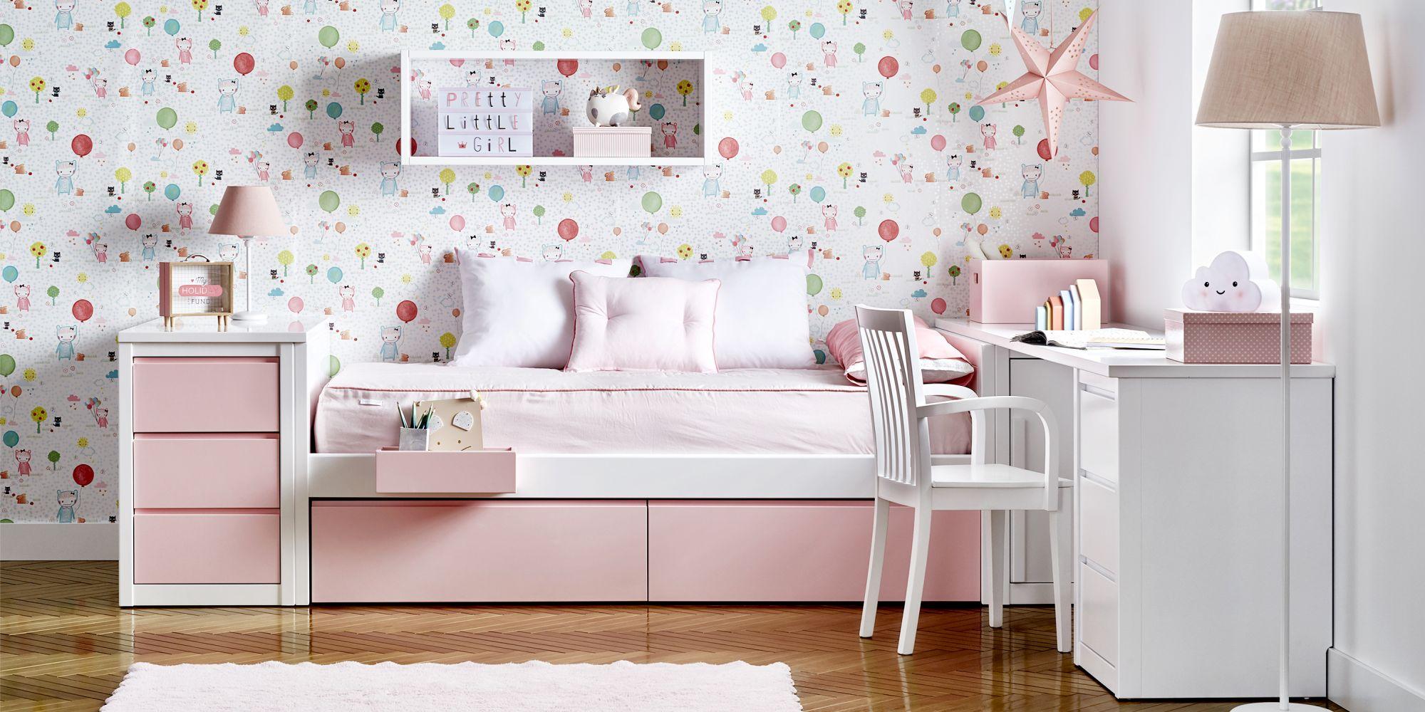 Cama nido con cajones rosas y almacenaje silla blanca