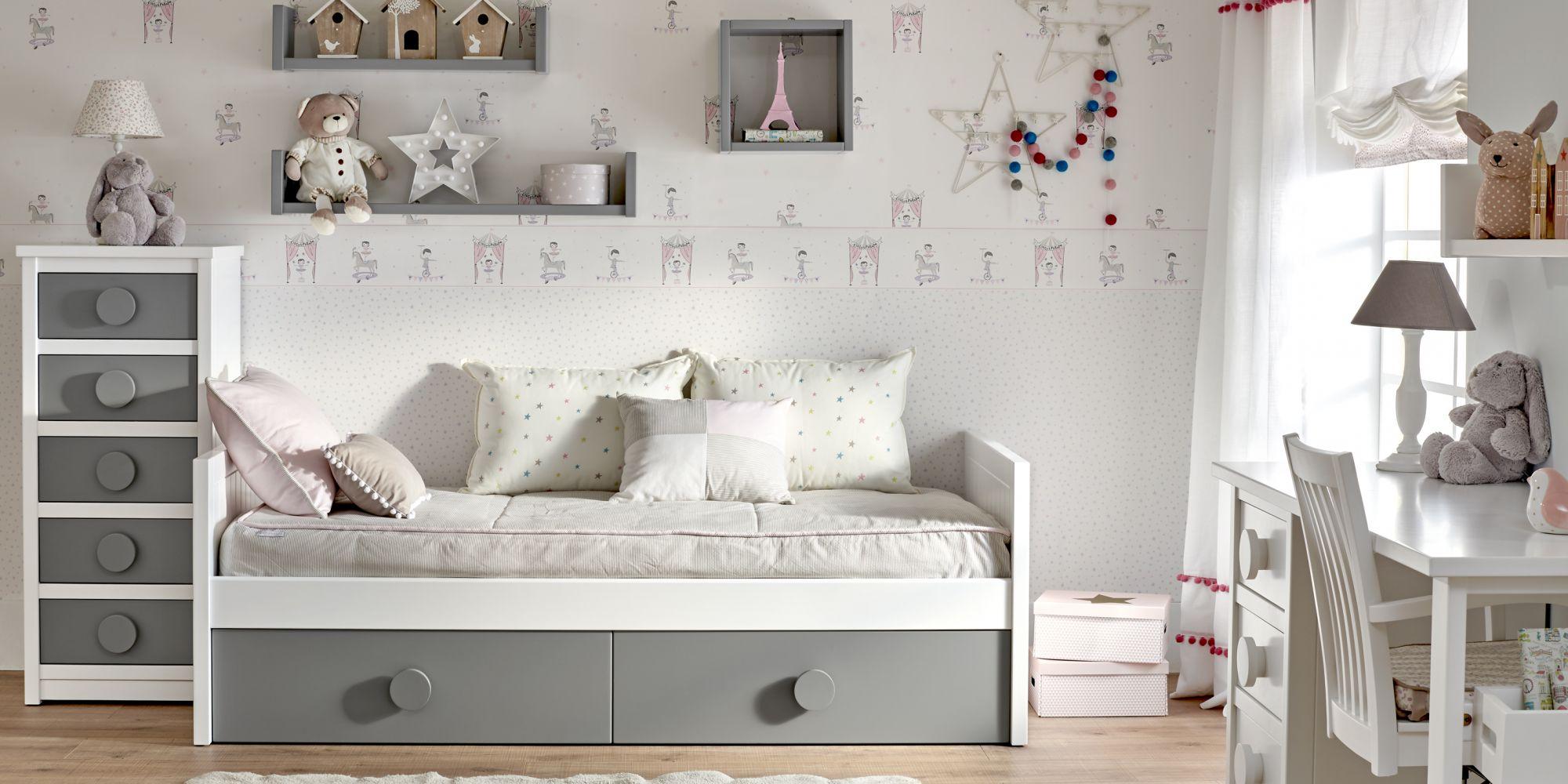 Habitación cama nido, dos cajones, chiffonier y mesa de estudio