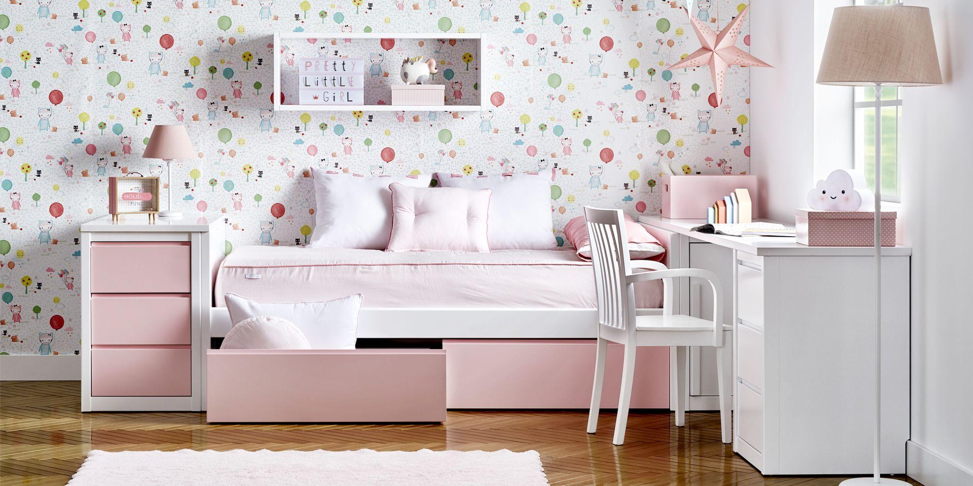 Cama tatami nido con cajones rosas y zona de estudio