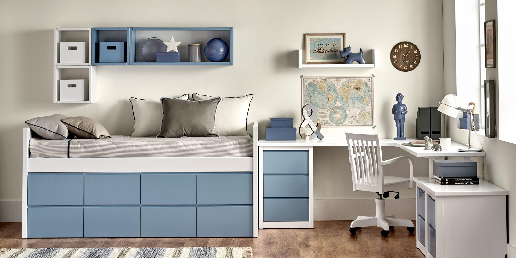 Compacto de ocho cajones color azul y zona de estudio con auxiliares