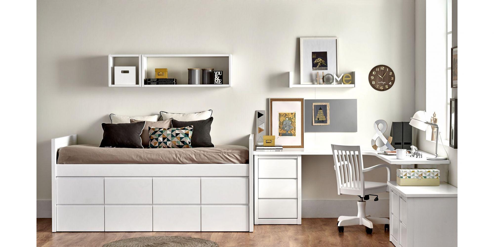 Compacto de una cama con ocho cajones y mesa de estudio