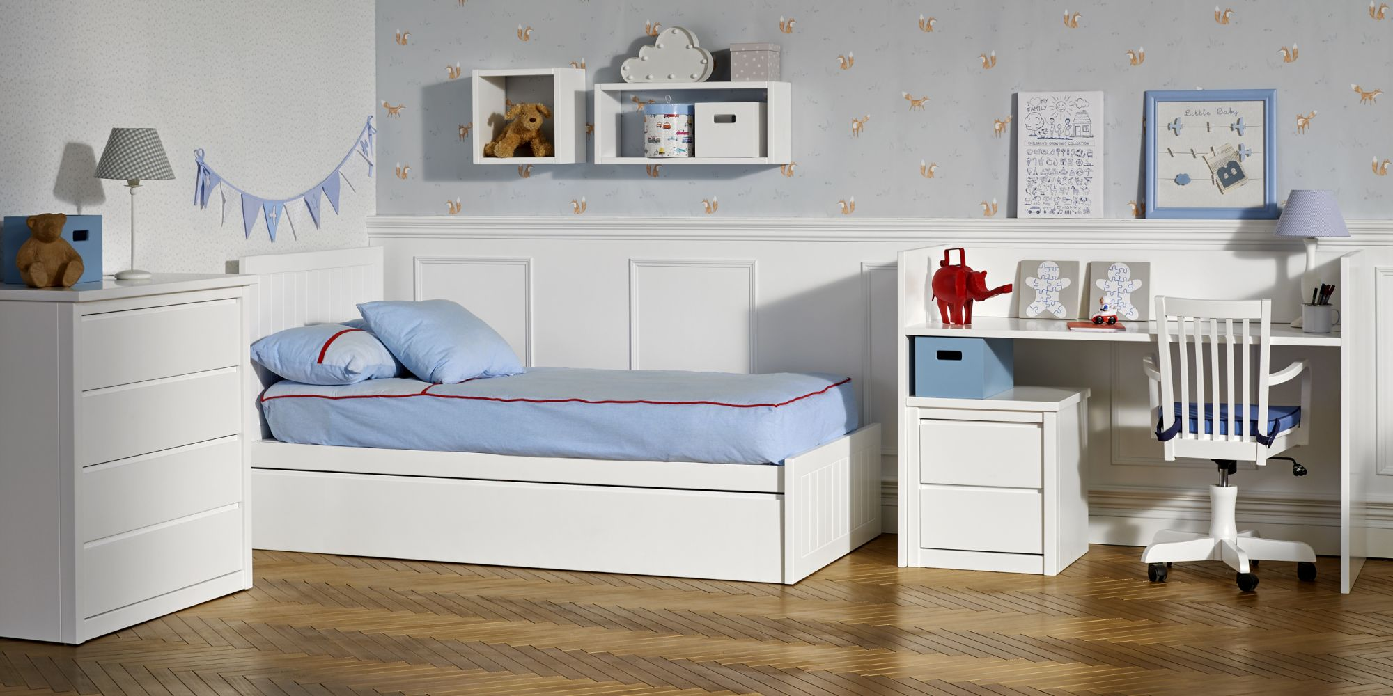Convertible cama con zona de almacenaje y zona de estudio