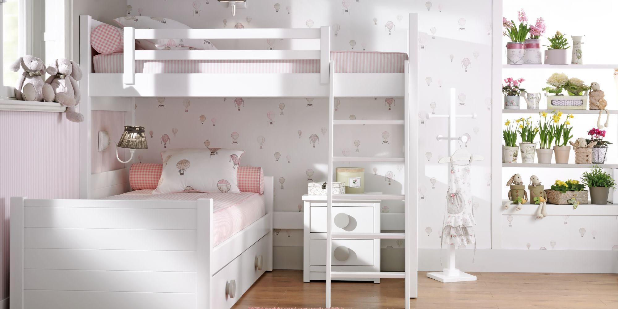 Litera angular con cama superior, cama nido y cajones inferiores | Mueble Infantil