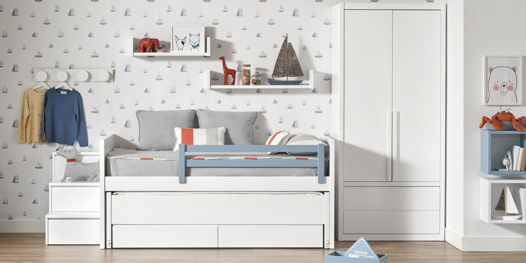 Dormitorio niño cama con cajones y armario