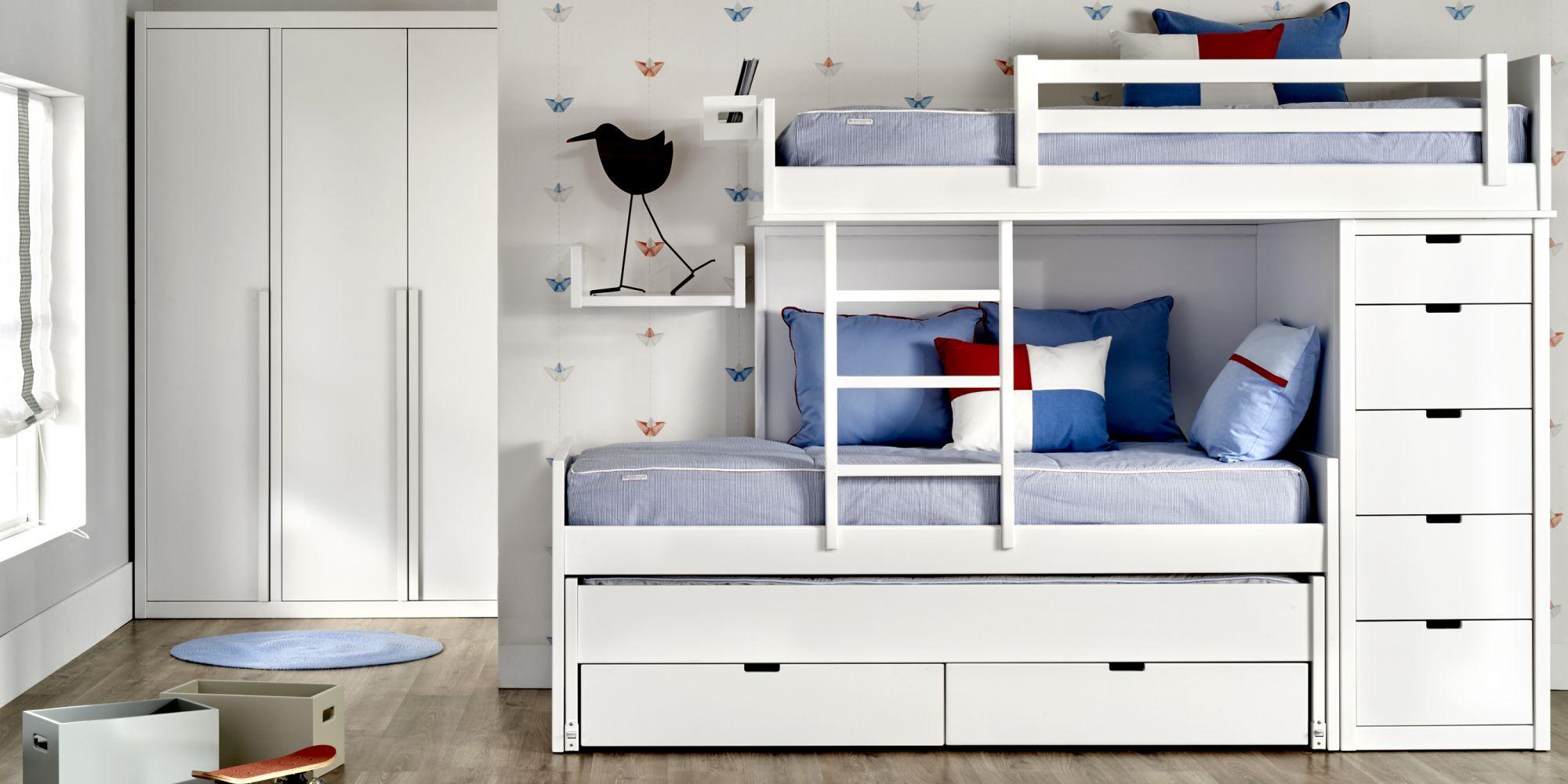Tren con 3 camas, chiffonier y armario, ideal para habitación infantil | Mueble Infantil