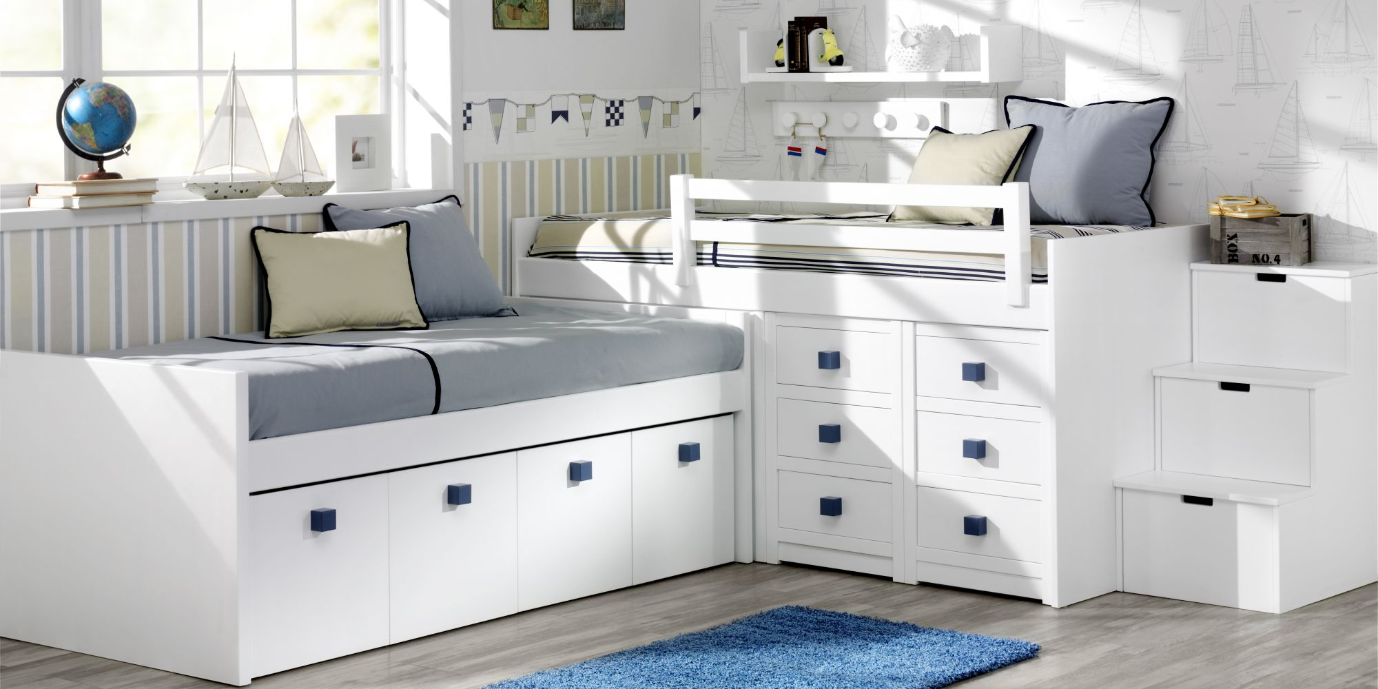 Estructura de dos camas con cajones inferiores de gran capacidad