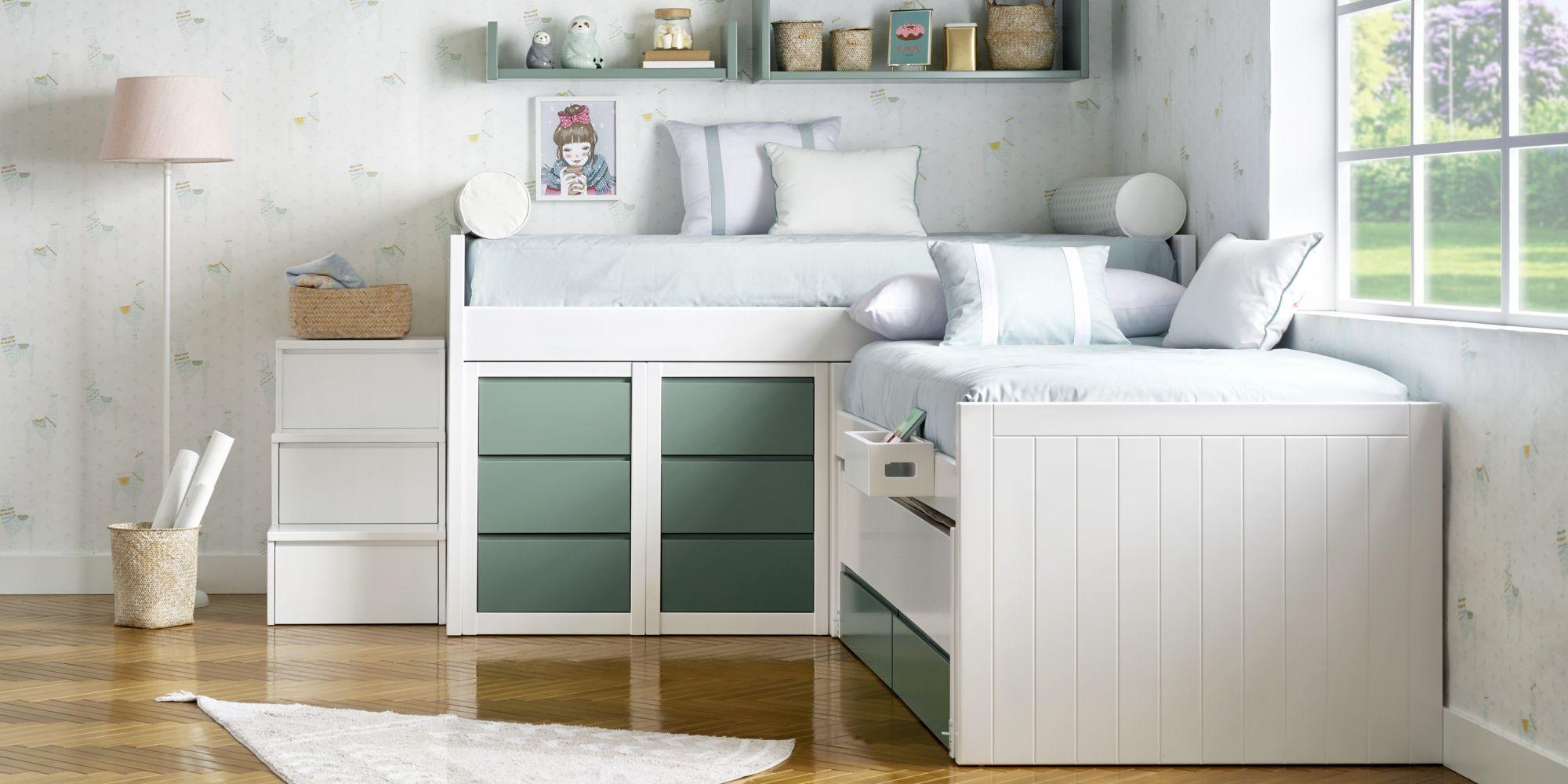Habitacion infantil con dos camas blanco y verde