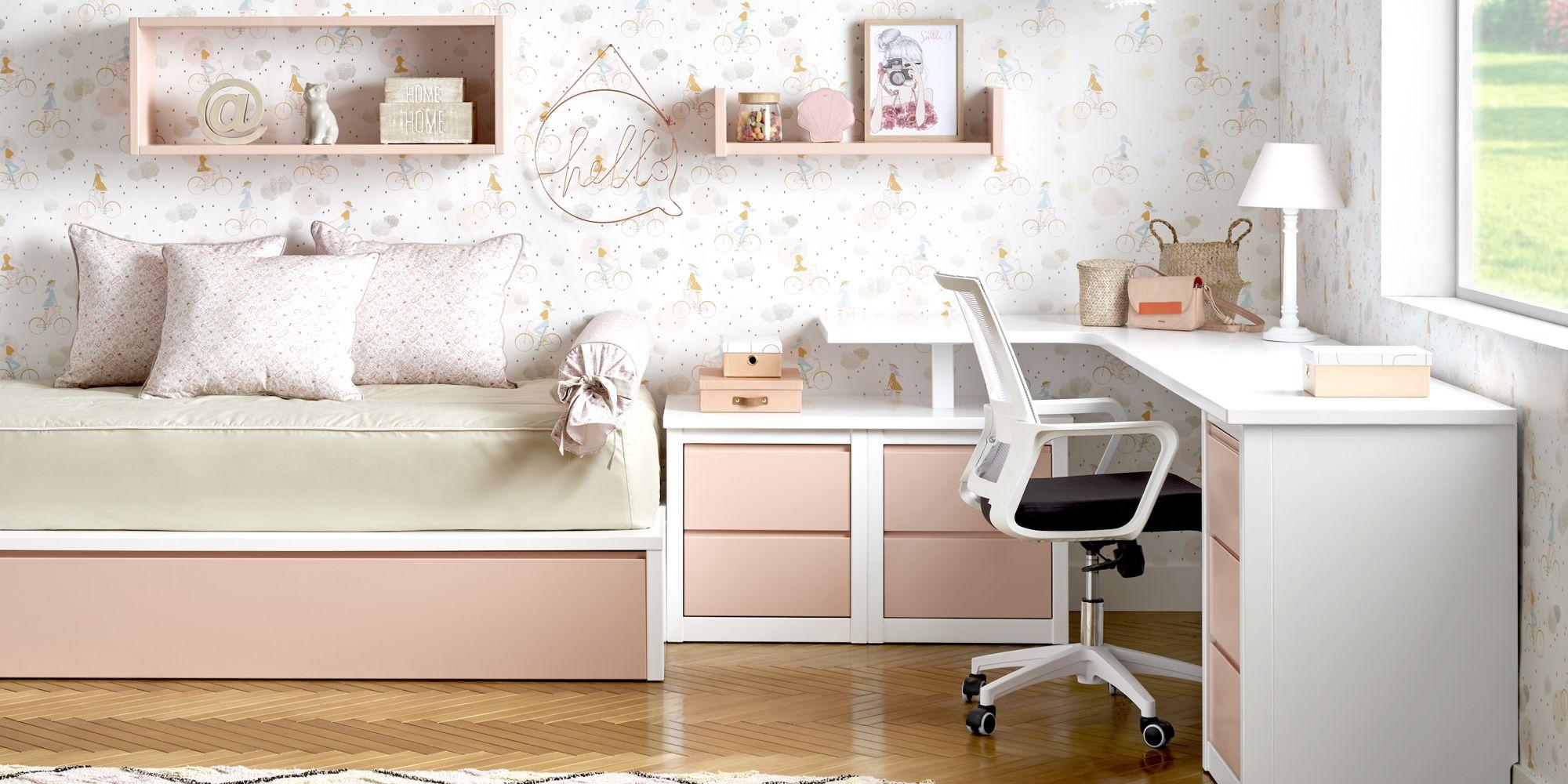 Habitacion juvenil con escritorio en rosa