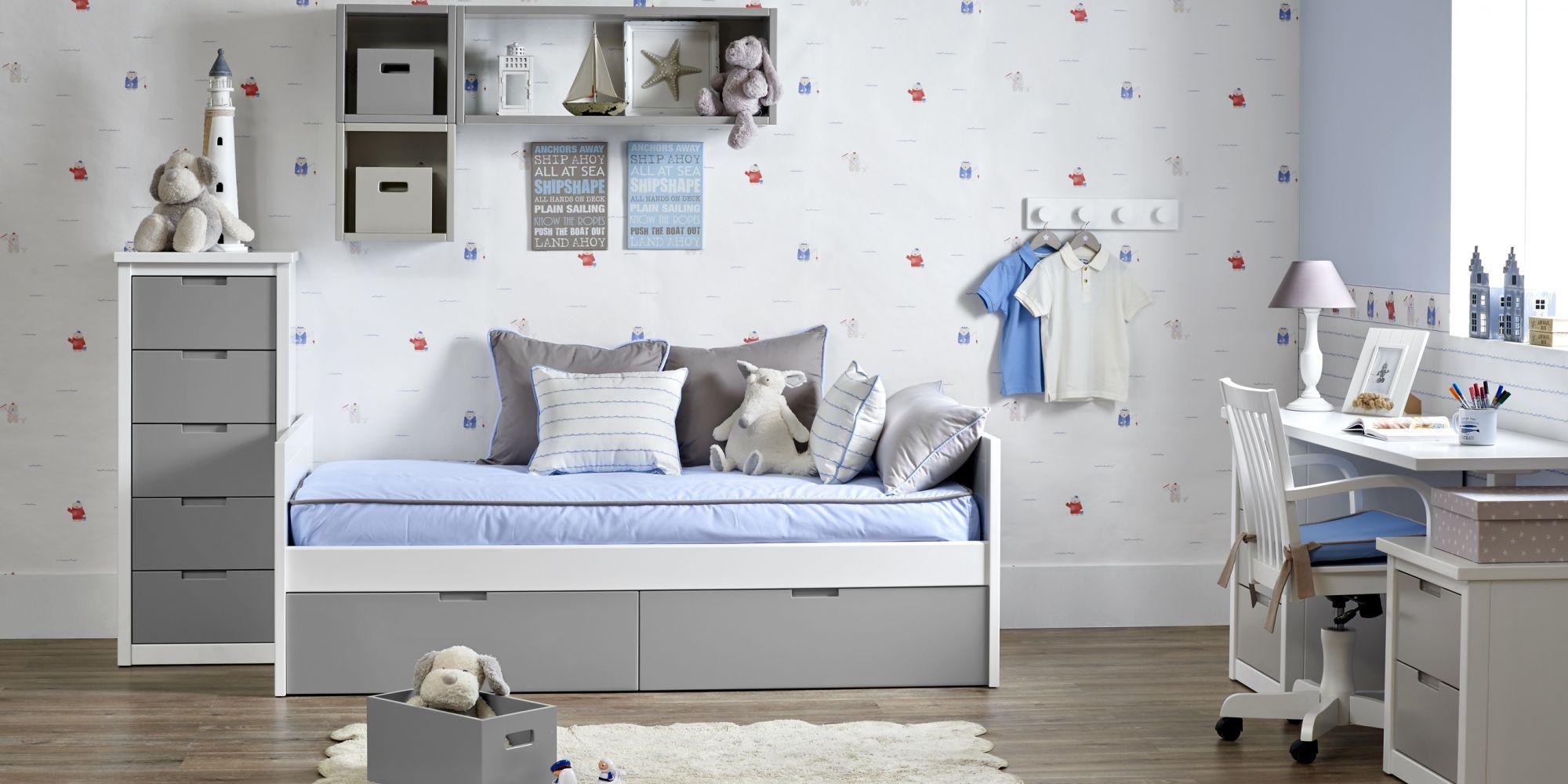 Habitación con minicompacto infantil gris
