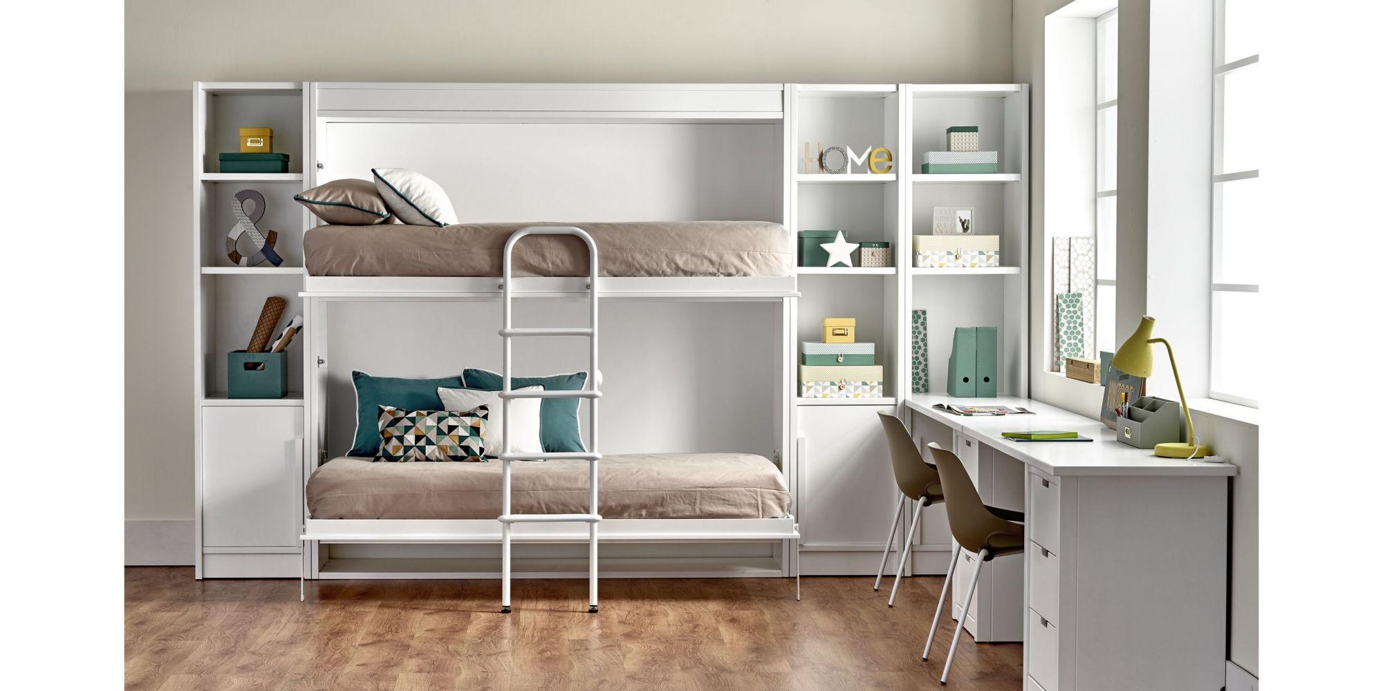 Litera abatible de dos camas con amplia zona de estudio y librería