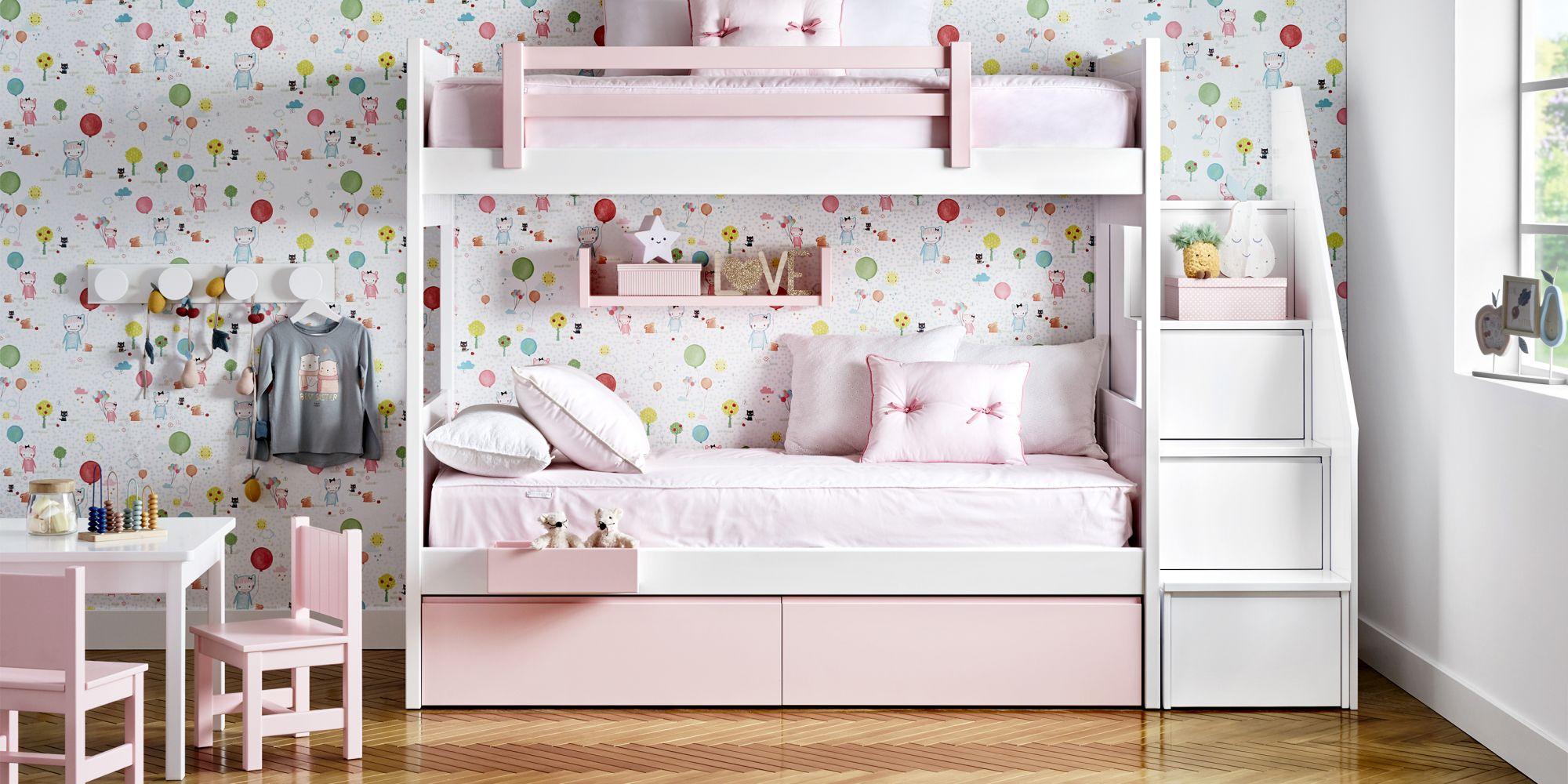 Litera infantil con escalera de cajones rosa y blanca
