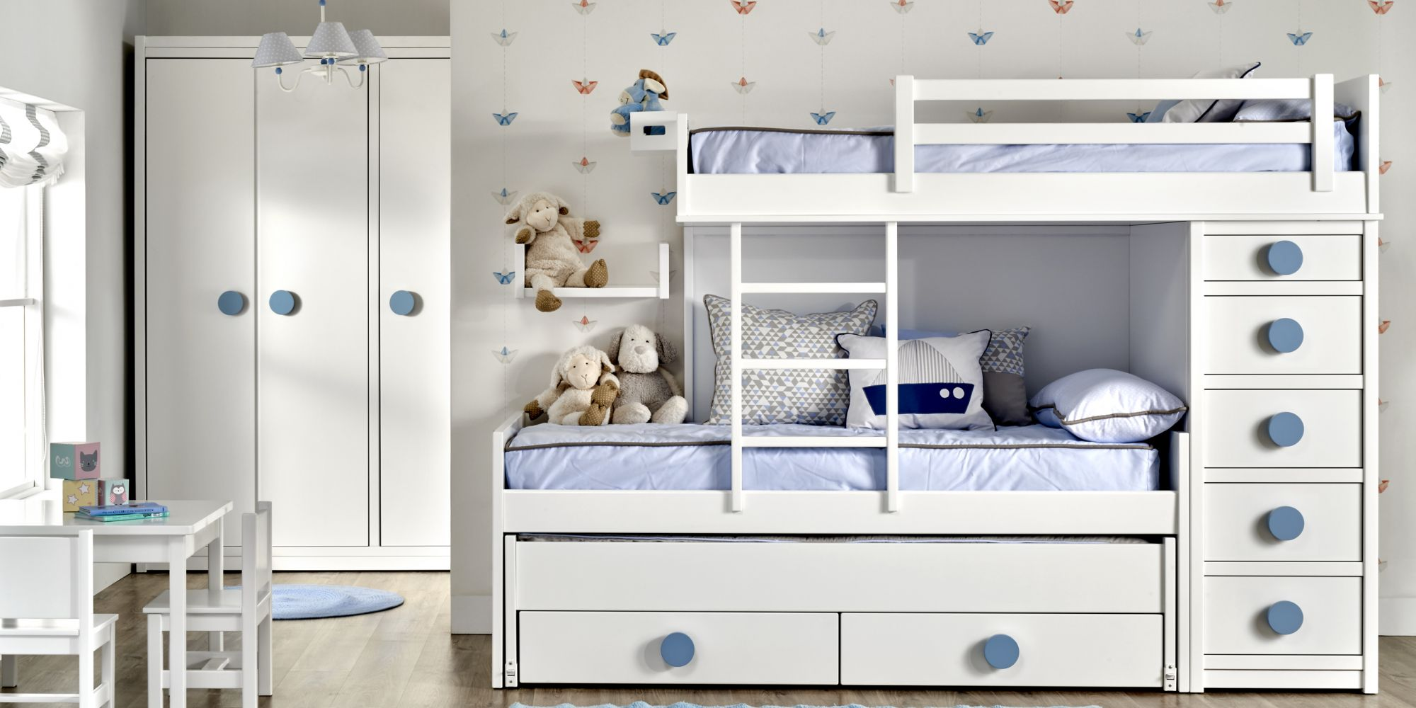 Minicompacto de 3 camas y cajones de almacenaje
