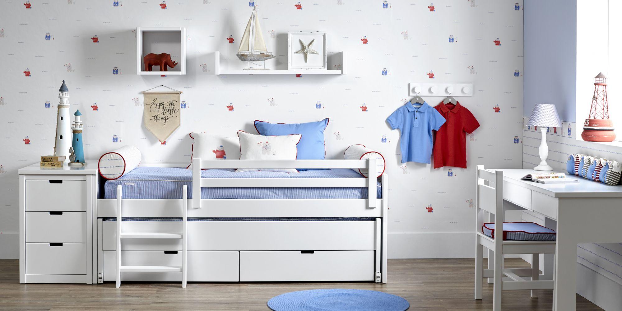 Minicompacto de dos camas con escalerita más protector y mesa estudio