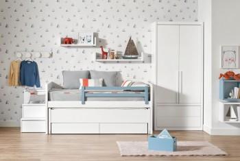 Habitación juvenil cama compacta y armario con cajones exteriores