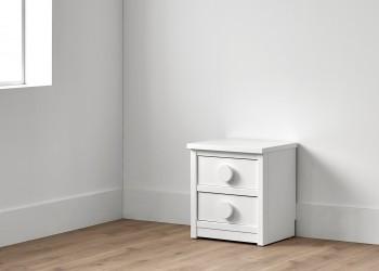 Cómoda de dos cajones en color blanco