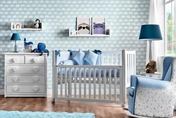 Cuna para bebé con barandilla móvil y cómoda de cinco cajones