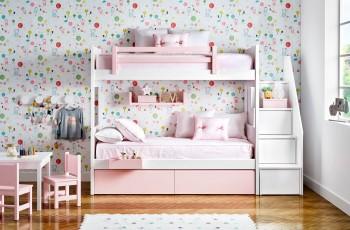 Litera de dos camas, cajones de almacenaje, armario y mesa de estudio
