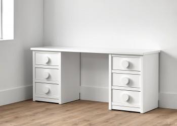 Mesa de escritorio con seis cajones color blanco